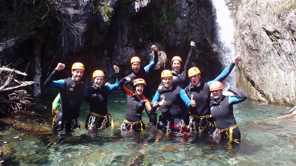 Groupe au canyon de l'Artigue Ariège Pyrénées